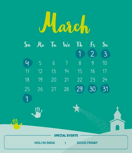 List of Long Weekends in March