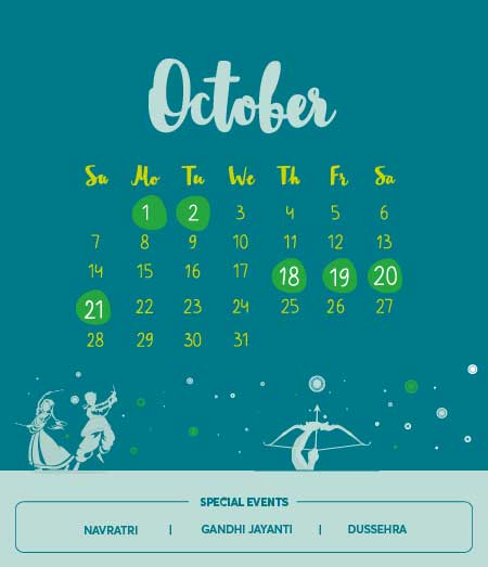 Long Weekends in October 2018