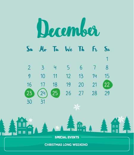 Long weekends, December 2018