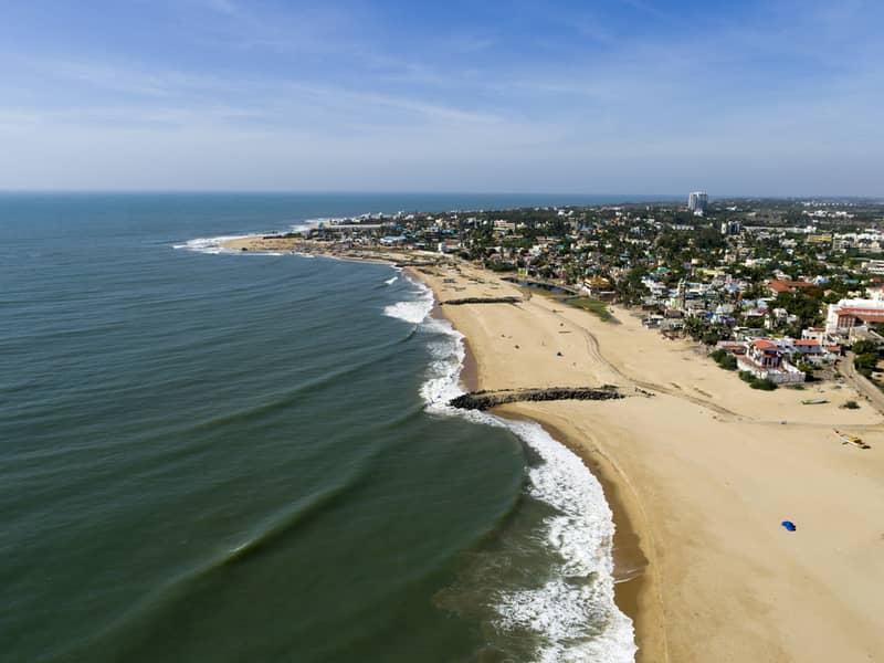Aerial Shot of East Coast Road Seashore Chennai