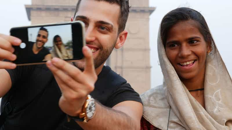 Traveler Clicking with Locals