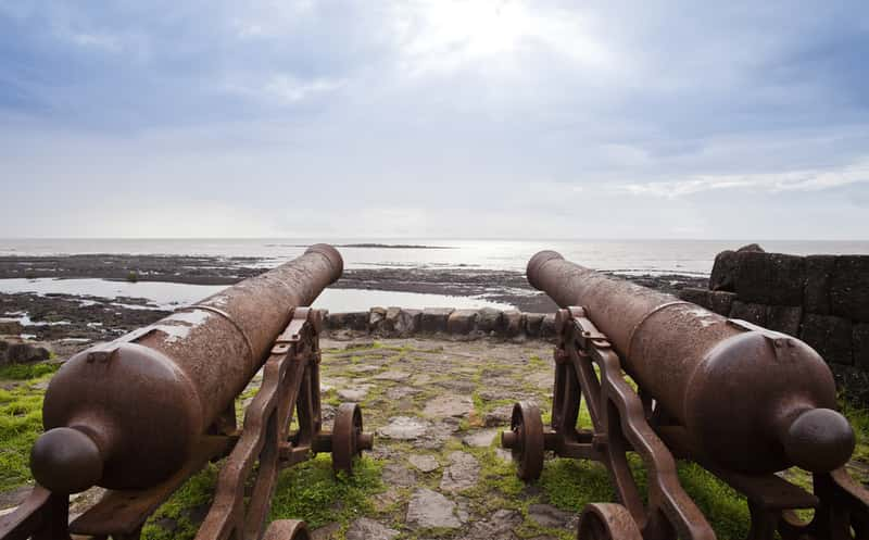 Cannons on the beach at Alibaug