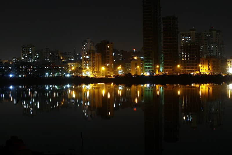 The Nerul Lake at night