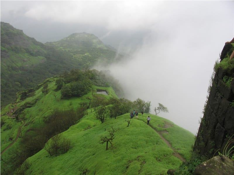 Tourists enjoying a trek in Lonavala