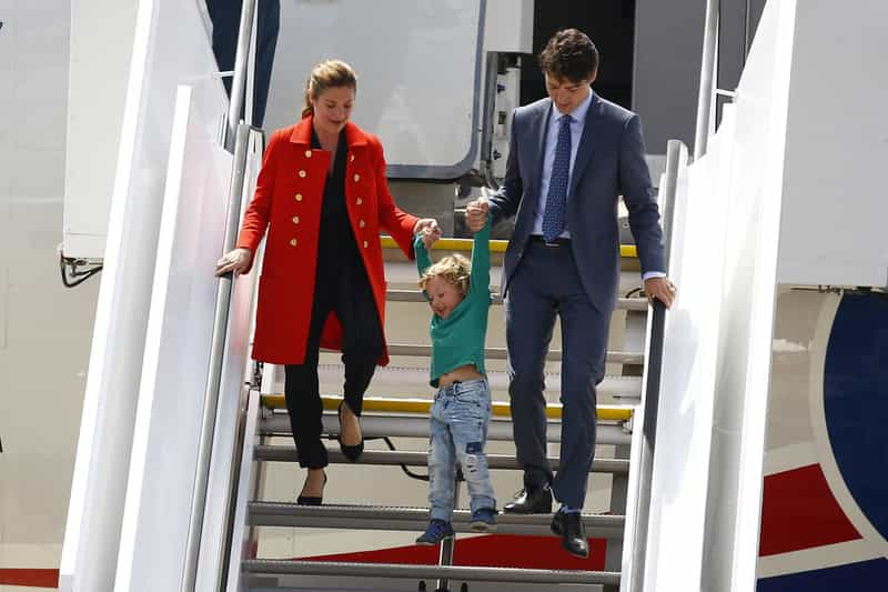 One, two, three...swing! The Trudeaus arriving in Hamburg in July, 2017