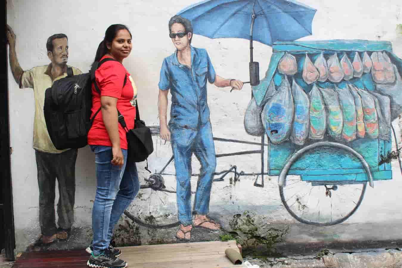 Manjulika Pramod with the Wall Art in Malaysia