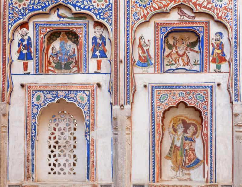 A gorgeously painted wall in Shekhawati