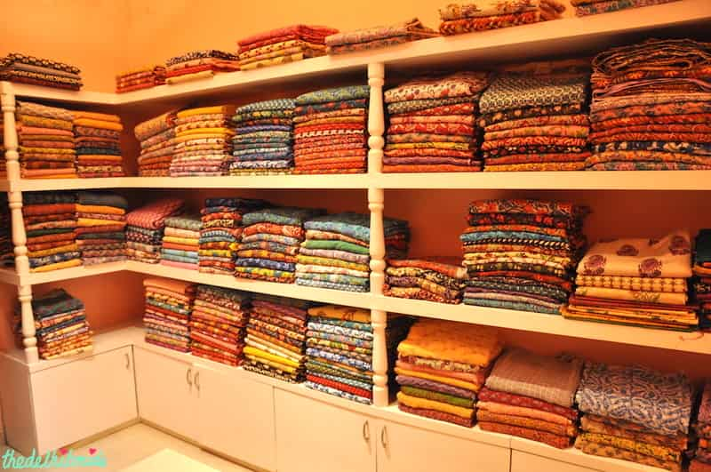 Fabrics with eclectic designs at Meherchand Market