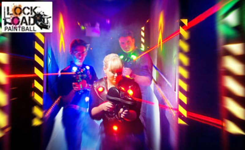 Patrons engaged in a game of laser tag at Lock n Load