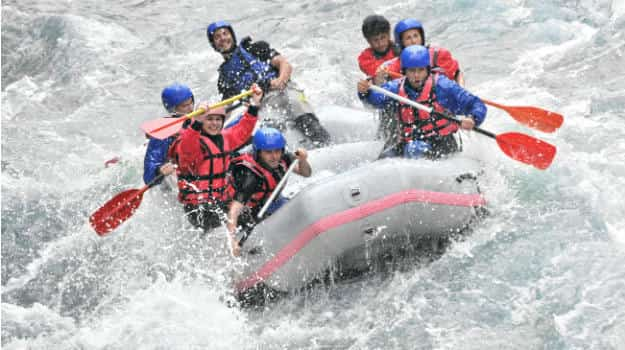 Patrons engaging in whitewater rafting
