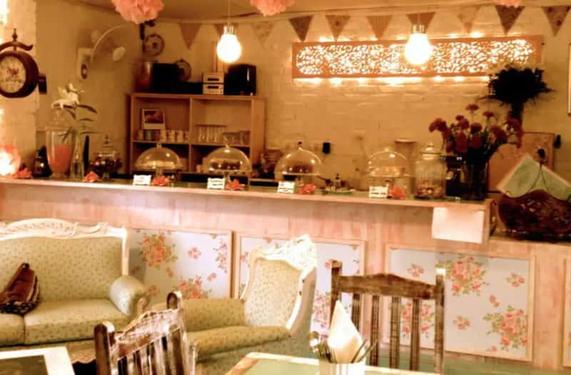 The beautiful rosy décor at Rose Cafe puts you in a good mood
