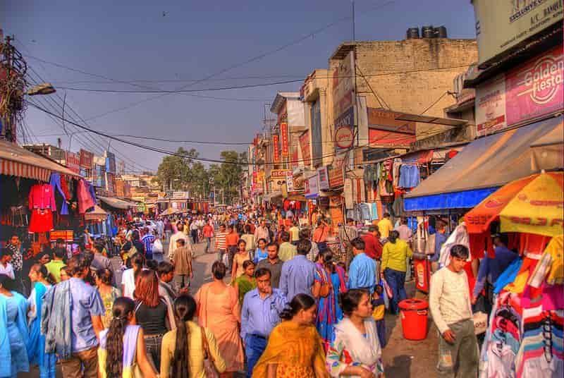 The busy market lane of Lajpat Nagar