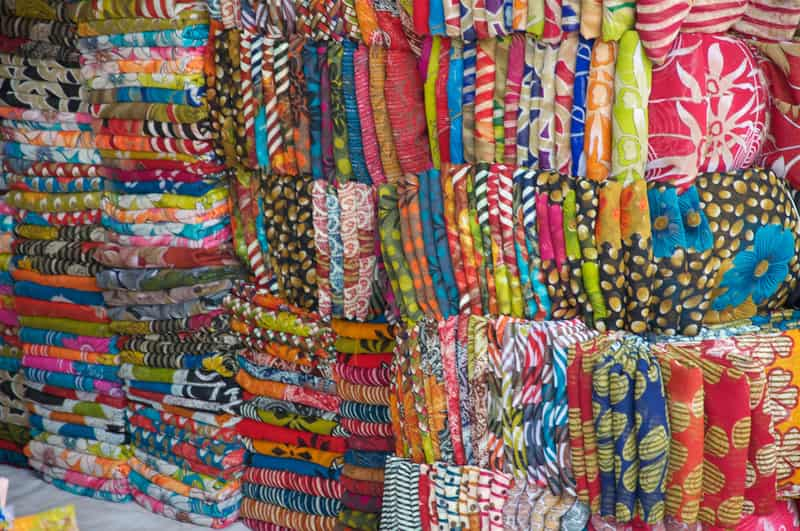Vibrant and colourful range of cloth material at Chandni Chowk