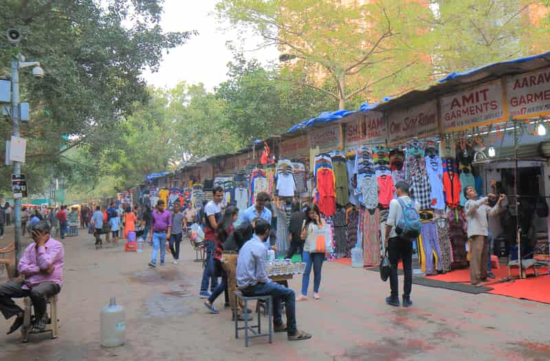 Visitors at the Janpath Market