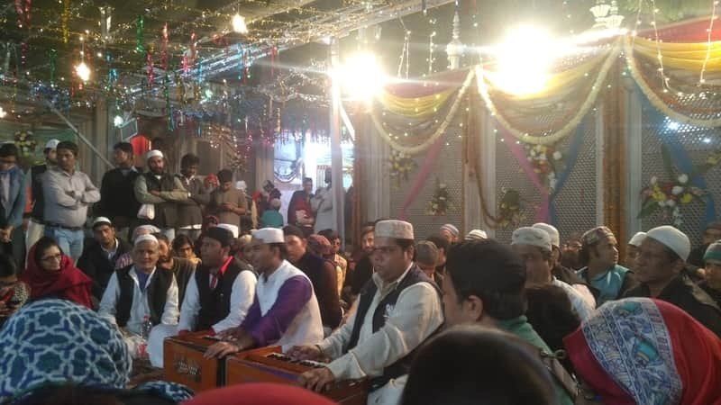 A Qawwali session in progress at the Dargah