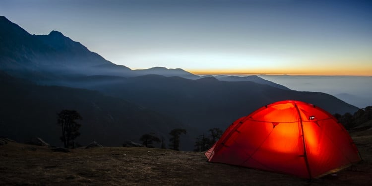 A tent in the misty hills of Chikmagalur
