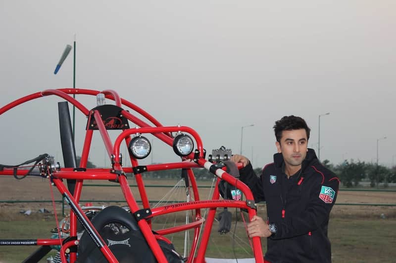 Actor Ranbir Kapoor paramotoring at the facility