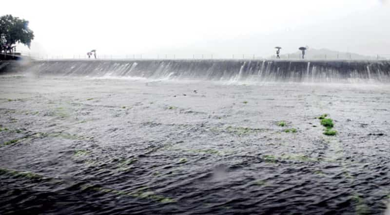 An overflowing Bhatsa lake