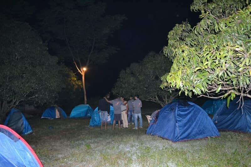 Campers at Savandurga by the campsite