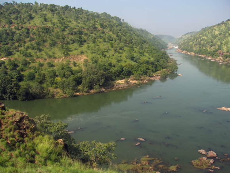 Cauvery flowing between the Hills
