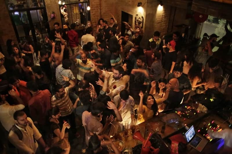 Patrons enjoying themselves at Hauz Khas