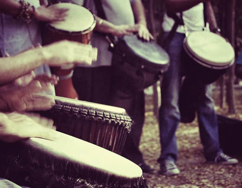 Performers at the Delhi Drum Circle