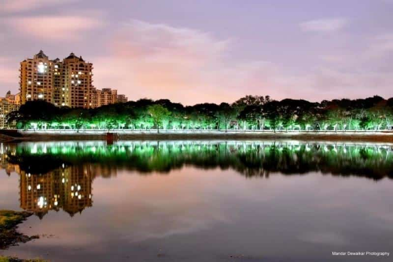 The Upvan Lake by night
