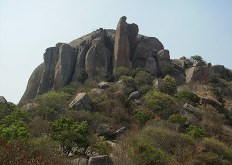 The rocky terrain of Ramanagara