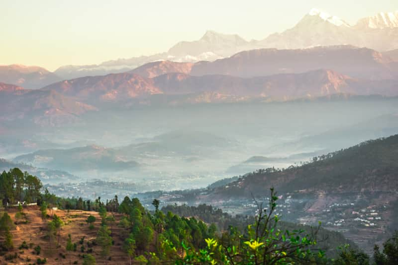 View of the Himalayas from Kausani