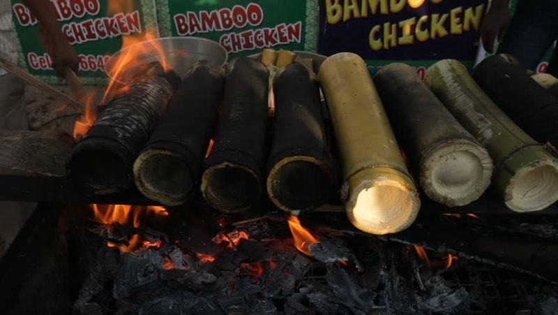 Bamboo Chicken on coals