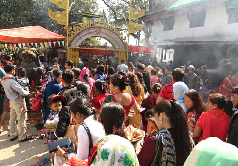 Devotees at the temple