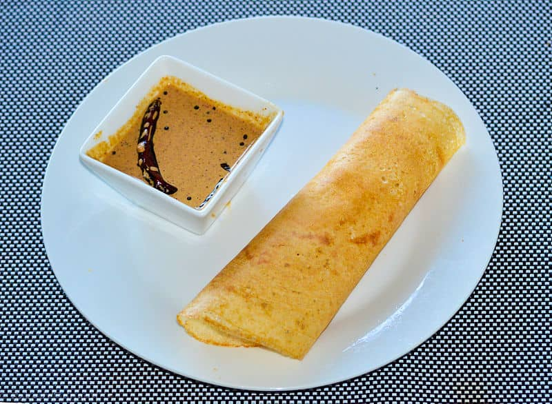 Dosa with peanut chutney