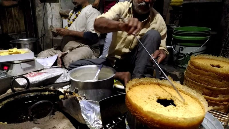 Ghevar being prepared in Bikaner