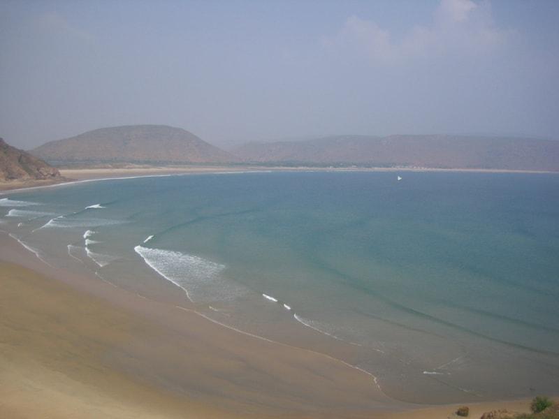 The clean seashore at Gangavaram