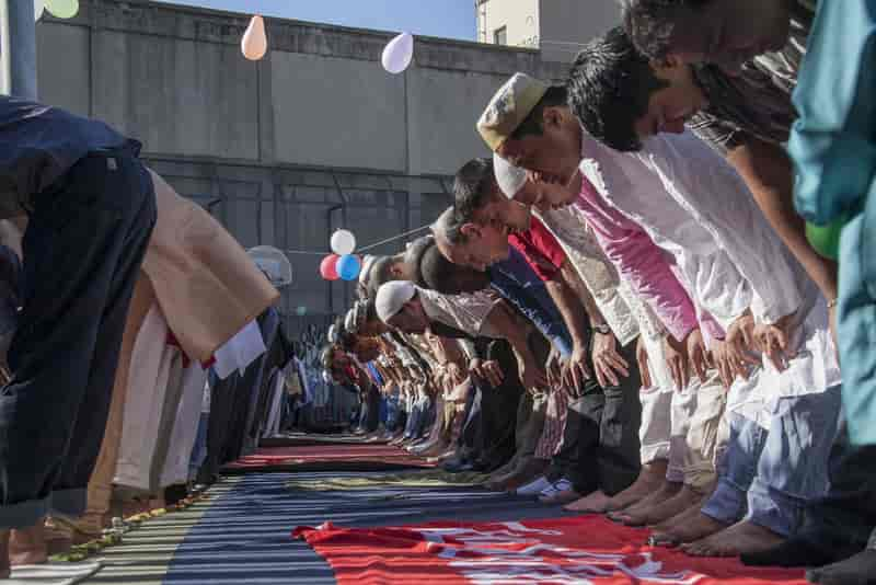 Muslims celebrating Eid al-Fitr